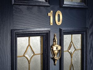 Blue Composite Door with Gold Hardware