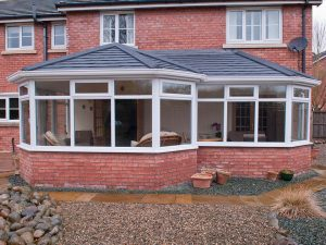 Grey Conservatory with Tiled Roof
