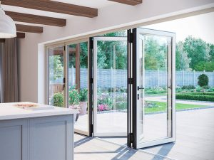 White Open Bifold Door